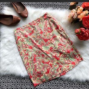 Jones New York Coral Paisley Midi Skirt